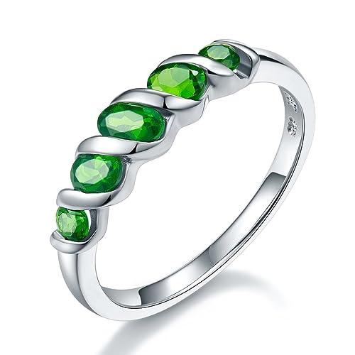 più foto 290c0 eb42d Hutang pietra preziosa naturale Cromodiopside wedding anello in argento  Sterling massiccio 925 fine moda pietra gioielli per donna Gift New