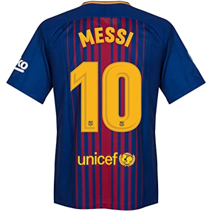 Barcelona Home Messi Jersey   Official Printing S
