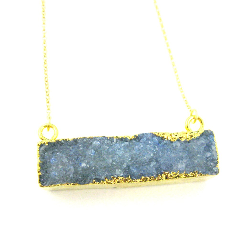 Gold plated Sterling Silver Necklace Chain 18 inches Rainbow Agate Blue Druzy Gem Bar Large Druzy Bar Connector Necklace