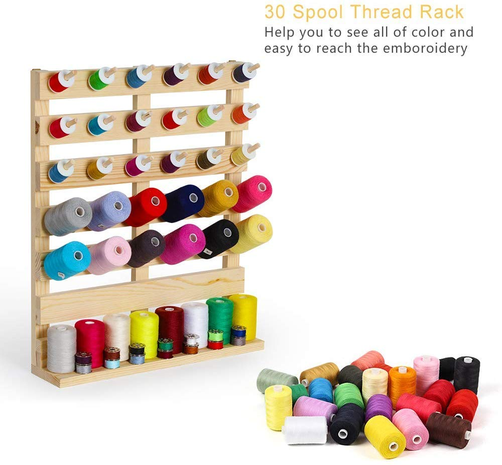 Embroidery-Suitable for Large Spool 30-Spool Sewing Thread Rack Wooden Sewing Thead Holder Rack for Sewing Quilting