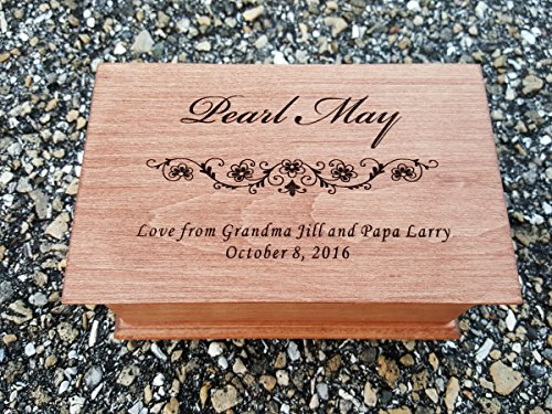 Custom Engraved Musical Jewelry Box your choice of name and a quote underneath, you pick the color and the song as well by Simplycoolgifts