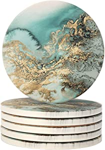 Lahome Marble Pattern Coasters - Round Drinks Absorbent Stone Coaster Set with Ceramic Stone and Cork Base for Kinds of Mugs and Cups (Blue, Set of 6)