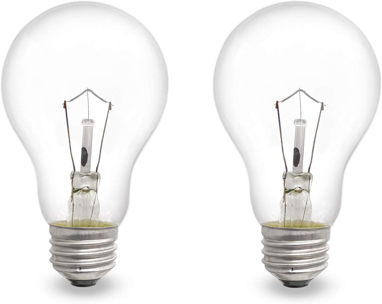 Appliance Light Bulbs 60 Watt A19, Dimmable A19 Ceiling Fan Light Bulbs, E26/E27 Medium Base, 2700K Warm White Incandescent Bulb, High Temp 110-130 Volt Refrigerator Oven Bulbs, Microwave Light Bulb