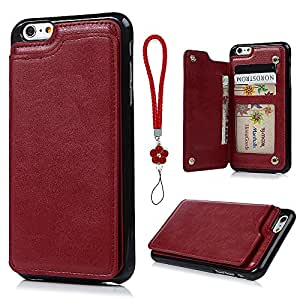 YOKIRIN iPhone 6 Case, iPhone 6S Case, Hybrid Premium PU Leather TPU Inner Flip Wallet Case Extra Card Slot Snap Fastener Shockproof Protective Cover for iPhone 6/6S with Hand Lanyard Strap, Red