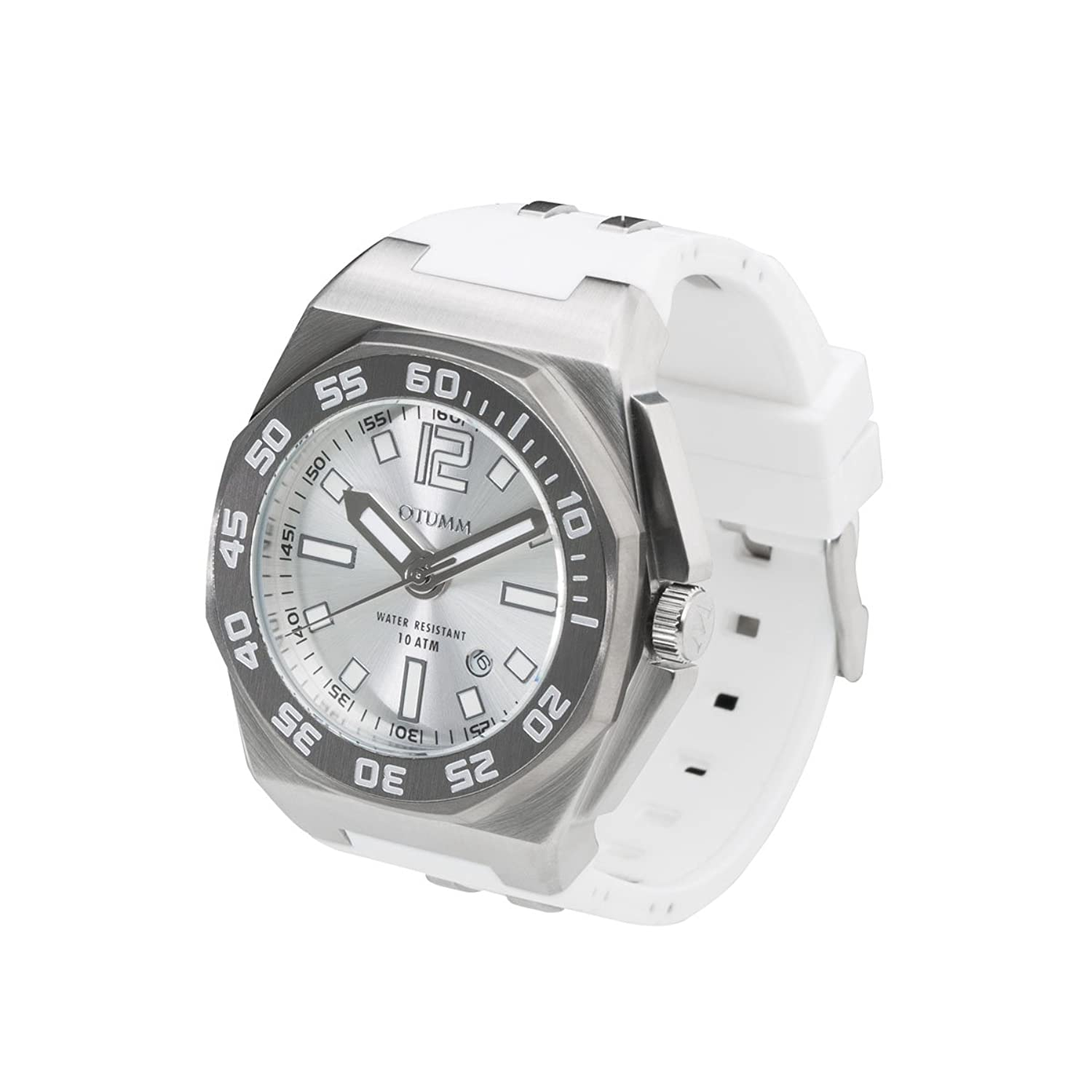 OTUMM Sports Calender 08724 Damen-Armbanduhr XL - 45mm (analog) - Weiß