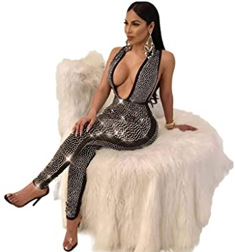 1678a3c4 Amazon.com: Women Deep V Neck Sequin Rhinestone Jumpsuit Sleeveless  Clubwear Party One Piece Romper: Clothing