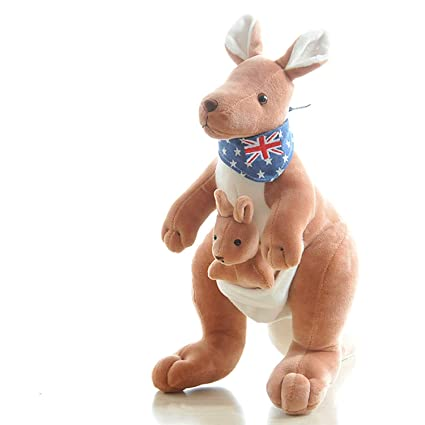 JEWH Soft Plush Toys Australia Kangaroo Carrying A Baby - Stuffed Plush Animals Kangaroo Mother&Son Collection