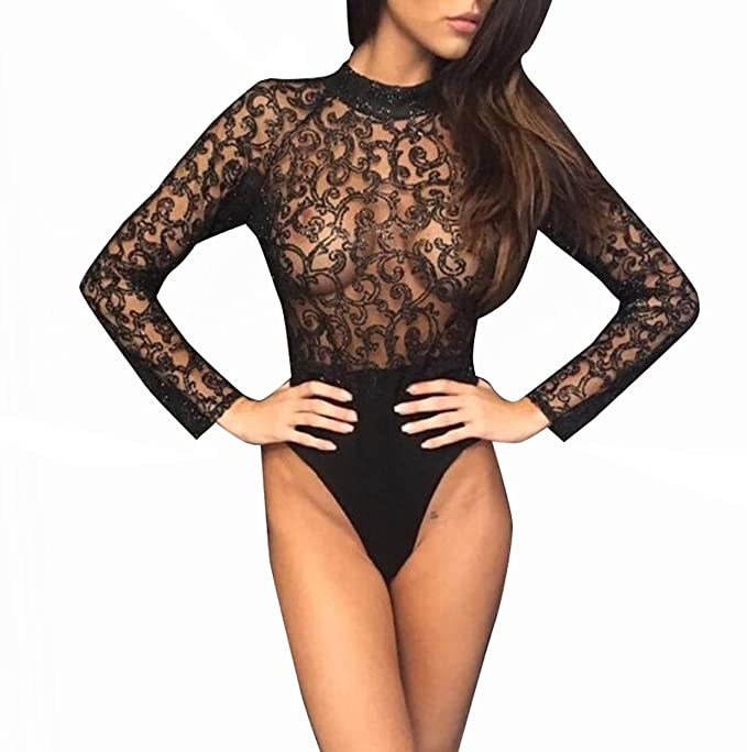 Carolilly Body Transparent Femme Jumpsuit en Tulle et Dentelle Manches  Longues avec Motifs Pailletés Imprimés Noir Or  Amazon.fr  Vêtements et  accessoires 3512281ec89