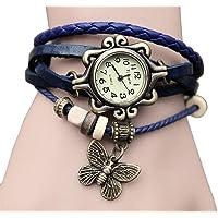 Dosige Pulsera del Reloj Retro Estilo Romano Mariposa Colgante Cuarzo Reloj de Pulsera Mujeres Accesorios de Moda(Blanco)
