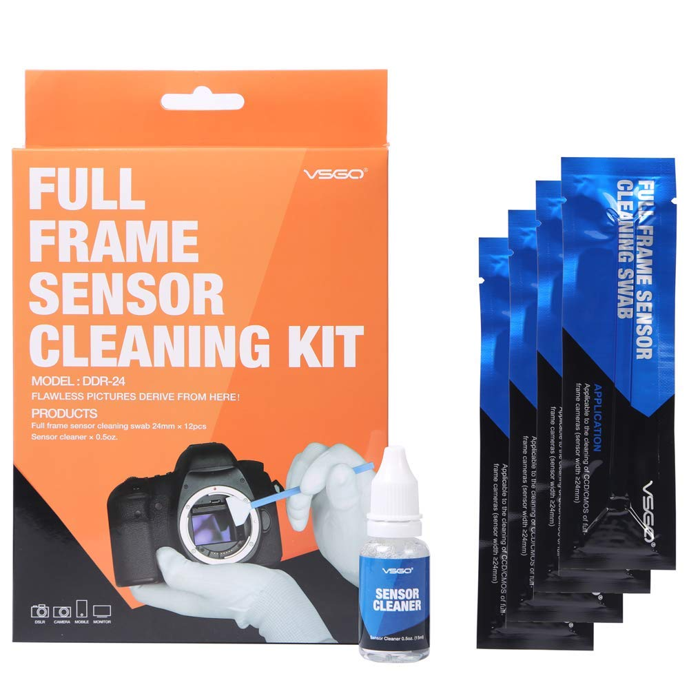 VSGO DDR24 DSLR or SLR Camera Full-Frame Sensor Cleaning Kit (12 X 24mm Sensor Cleaning Swabs + 15ml Sensor Cleaner) by VSGO