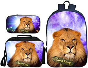 Asdfnfa Backpack Children's Three-Piece Suit 3D Printing Starry Sky Lion King Primary School Bag with Lunch Bag and Pencil Case (Color : 5)