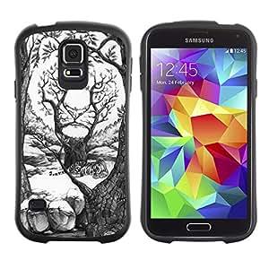 Suave TPU Caso Carcasa de Caucho Funda para Samsung Galaxy S5 SM-G900 / painting pencil art drawing white forest / STRONG
