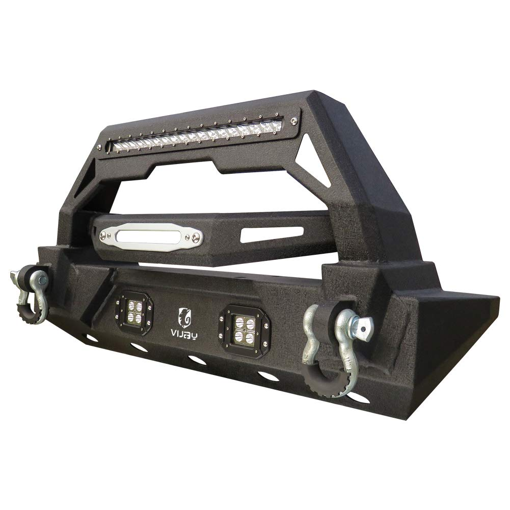 Vijay Jeep TJ Front Bumper Black Texture with 2x18W Fog Lights and 120W LED Strips for 87-06 Jeep Wrangler TJ YJ