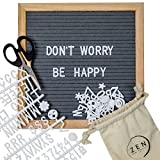 Felt Letter Board - Gray 10x10 Felt Board with 360 Changeable Letters, Letter Bag and Small Cute Scissor - This Wooden Felt Board Has a Kick Stand and Wall Mount - Perfect for Present Or Celebration