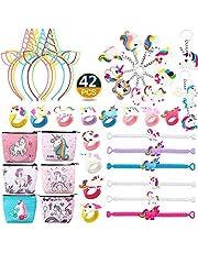 RHCPFOVR 42 Pcs Unicorn Party Favors Supplies, Fournitures de fête pour Un Anniversaire de Licorne Arc-en-Ciel, Bandeaux, Bracelets de Licorne, Porte-Monnaie, Porte-clés, bagues de Fantaisie Jouets