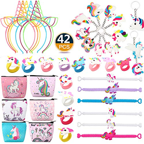 (Lingpeng Unicorn Party Favors Supplies, 42 Pack Rainbow Unicorn Birthday Party Supplies Set, Headbands,Unicorn Bracelets, Coin Purse, Keychains, Rings Novelty Toys Prizes Gifts)