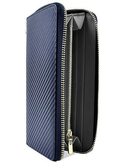 26220799703b ネイビー×ブラック F イタリア産 カーボン レザー 長財布 メンズ 財布 本革 ラウンドファスナー