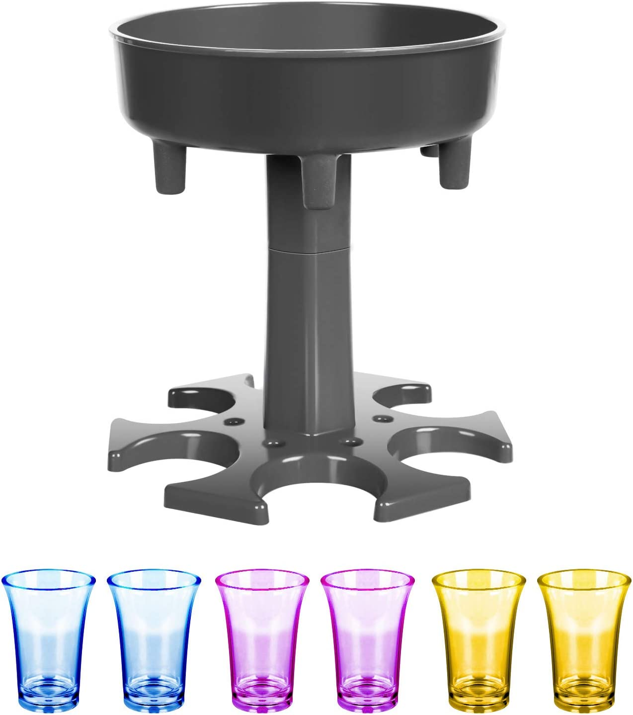 6 Shot Glass Dispenser and Holder, Carrier Caddy Liquor Dispenser, Beverage Dispenser with 6 Cups for Parties Drinking & Bar