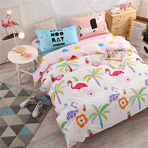 WarmGo Home Bedding Set for Adult Kids Floral Bird Pattern Duvet Cover Set 4 Piece Full/Queen Size without Comforter by WarmGo