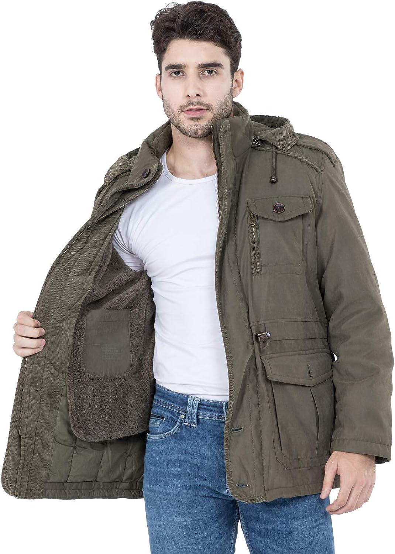 Mr.Stream Men's Winter 3-in-1 Hooded Jacket Windproof Faux Fur Lined Windbreaker Coat Outerwear Warm Parka: Clothing