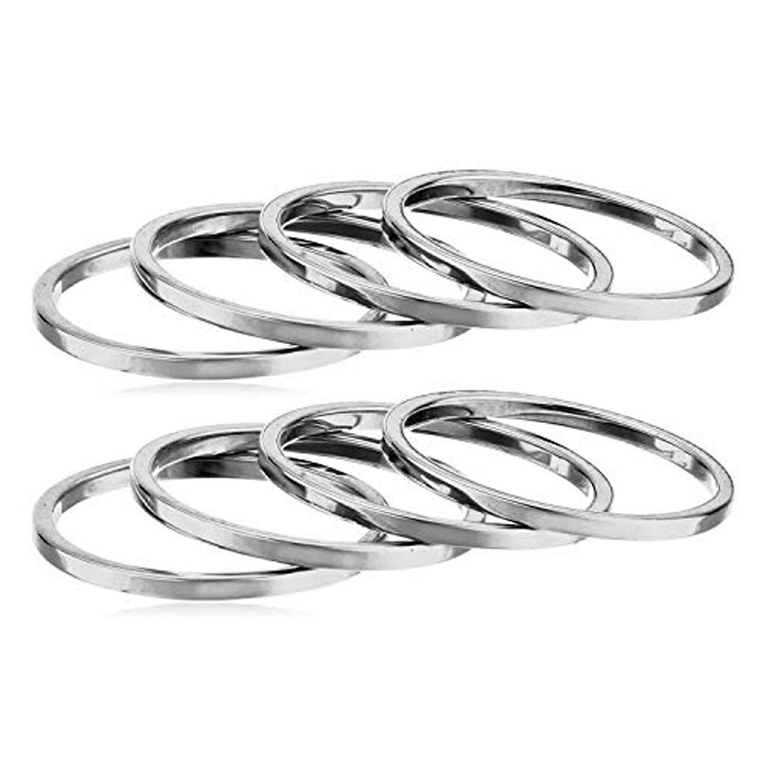 Set of 8 Stainless Steel Silver Phantom Jewelry Womens Plain Band Knuckle Stacking Midi Ring