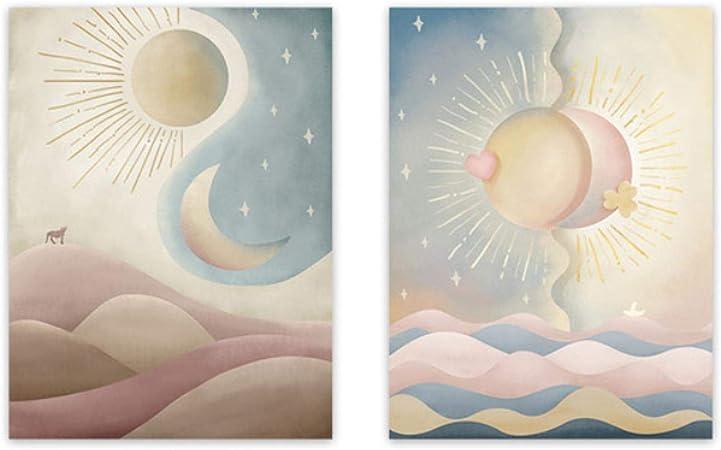 CHENGMU Pintura en Lienzo Resumen Sol y Luna Rosa Azul