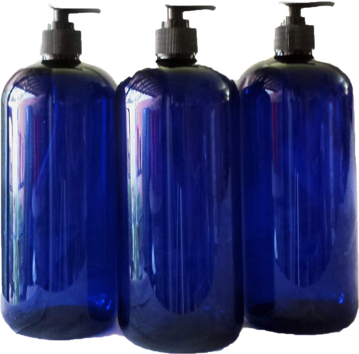 32 oz Blue Plastic PET Plastic Bottle with Black Hand Lotion Pump or Trigger Spray and Kraft Labels 3/pk SanDaveVA