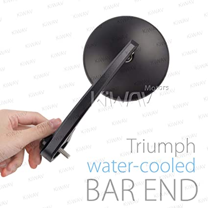 KiWAV Magazi Eclipse Black Motorcycle Bar End Mirrors Compatible for Triumph Water-Cooled Motorcycles