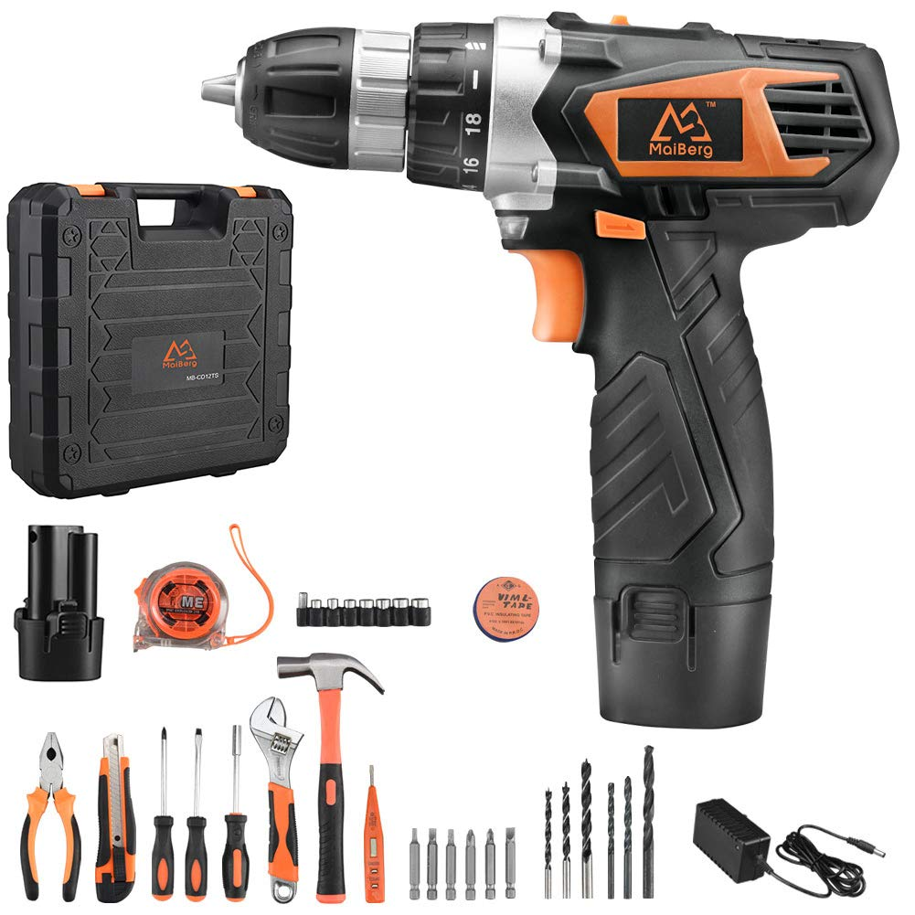 Cordless Drill, 12V Cordless Drill Driver 2×1.5Ah Batteries, Fast Charger 1.3A, 36Pcs Accessories, 18 1 Torque Setting, 2-Variable Speed Max Torque 200 In-lbs, 3 8 Keyless Chuck