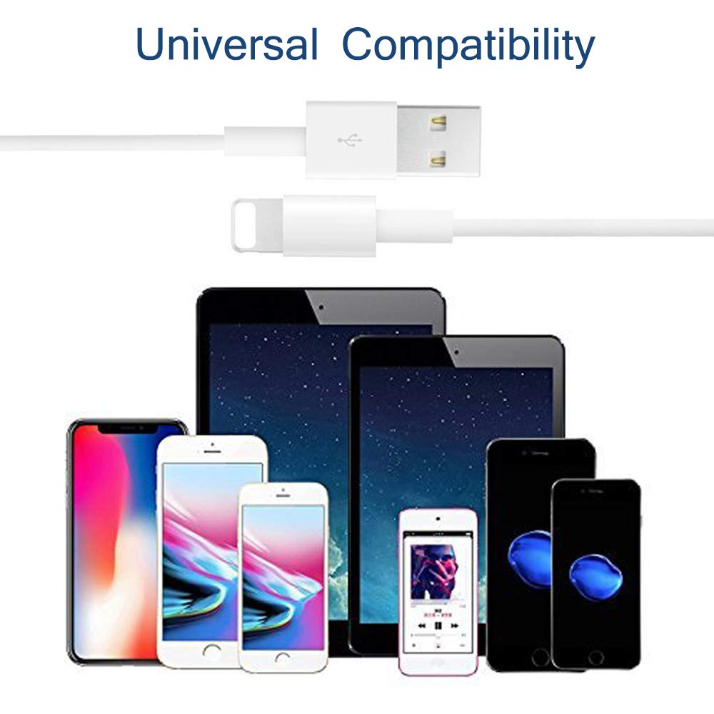 MFi Certified 2-Pack Charging Cable and USB Wall Adapter Plug Block Compatible with iPhone X//8//8 Plus//7//7 Plus//6//6S//6 Plus//5S//SE//Mini//Air//Max//Cases-White CovertSafe iPhone Charger