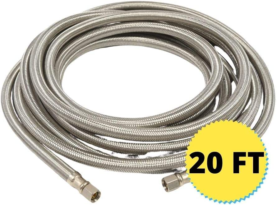 "Ice Maker Hose (20 FT) - Fridge Hose - Icemaker Water Supply Line - ¼"" x ¼"" Connections - Stainless Steel Braided"