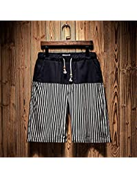 ZXHHL Summer Casual Shorts Men's Linen Printed Beach Pants