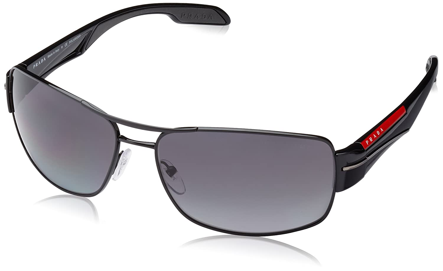 6071547e1ae Amazon.com  Prada Linea Rossa Men s PS 53NS Sunglasses Black   Polar Grey  Gradient 65mm  Prada  Shoes