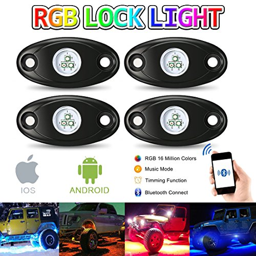 RGB LED Rock Light Kit APP Bluetooth Control 4Pods 12V Neon Lights Waterproof for Jeep Truck - Try Glasses App On To