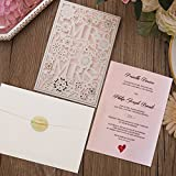 Picky Bride Mr and Mrs Laser Cut Wedding Invitations Customized Pink Invitation Cards -- Set of 50 pcs
