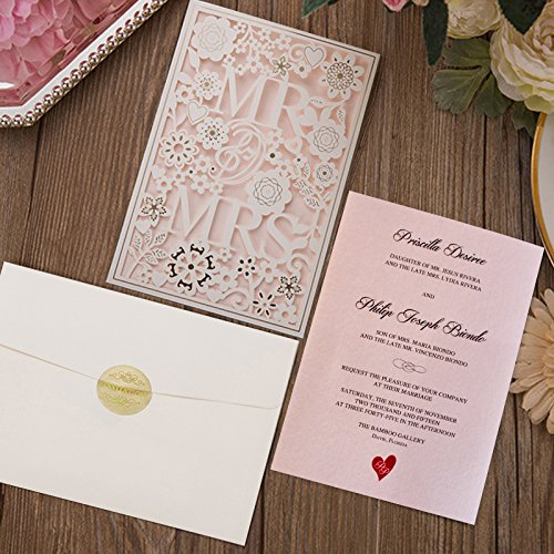Picky Bride Mr and Mrs Laser Cut Wedding Invitations Customized Pink Invitation Cards -- Set of 50 pcs by Picky Bride
