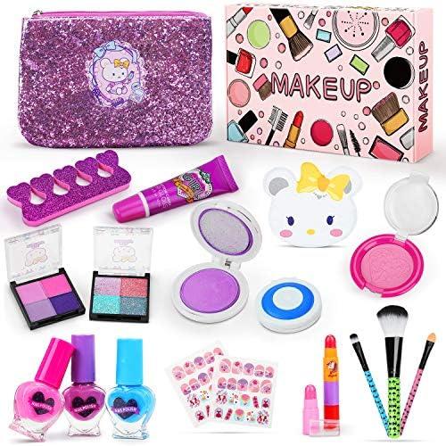 Jojoin Kids Wasbare Makeupset 19PCS Real Cosmetics Kit met Uniek Haarpoeder Nagellakset Glitteroogschaduw KonijnenzakIdeaal voor de Verjaardagscadeau van Kleine Meisjesprinses