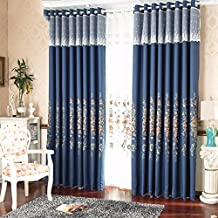 USQDCCLAT-Linen material light the living room curtains lace blue embroidered visor deluxe bedroom Bay window curtain custom curtain products,Per metre,Matching yarn
