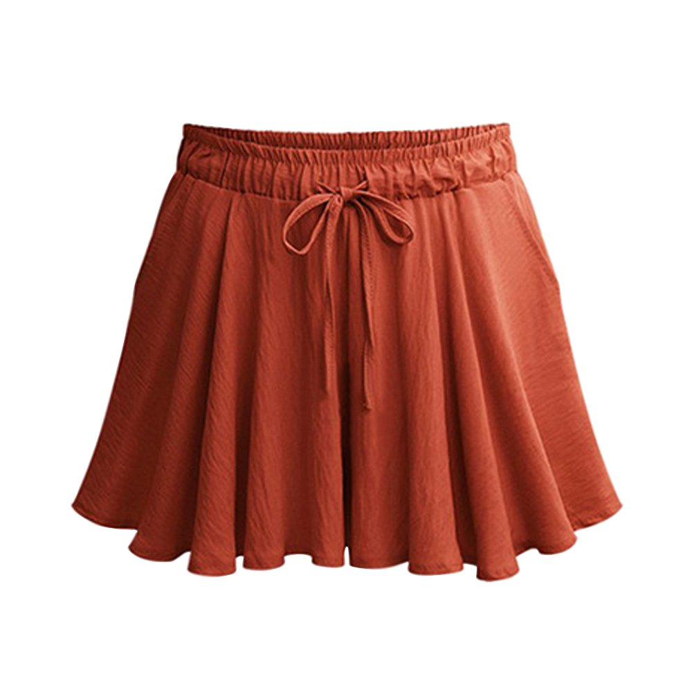 Gooket Women's Elastic Waist Casual A Line Culottes Wide Leg Shorts with Drawstring