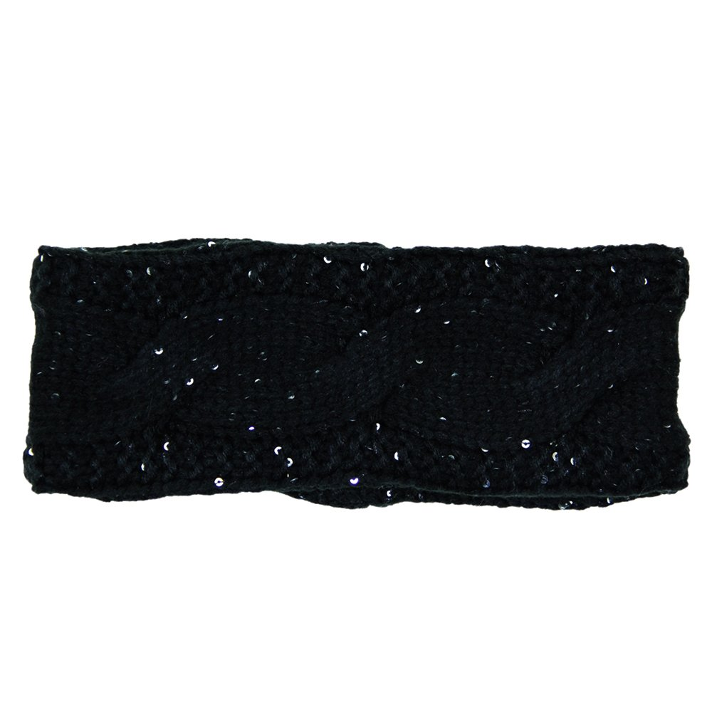 Me Plus Women's Winter Fleece Lined Cable With Sequins Knitted Headband Ear Warmer (Black)