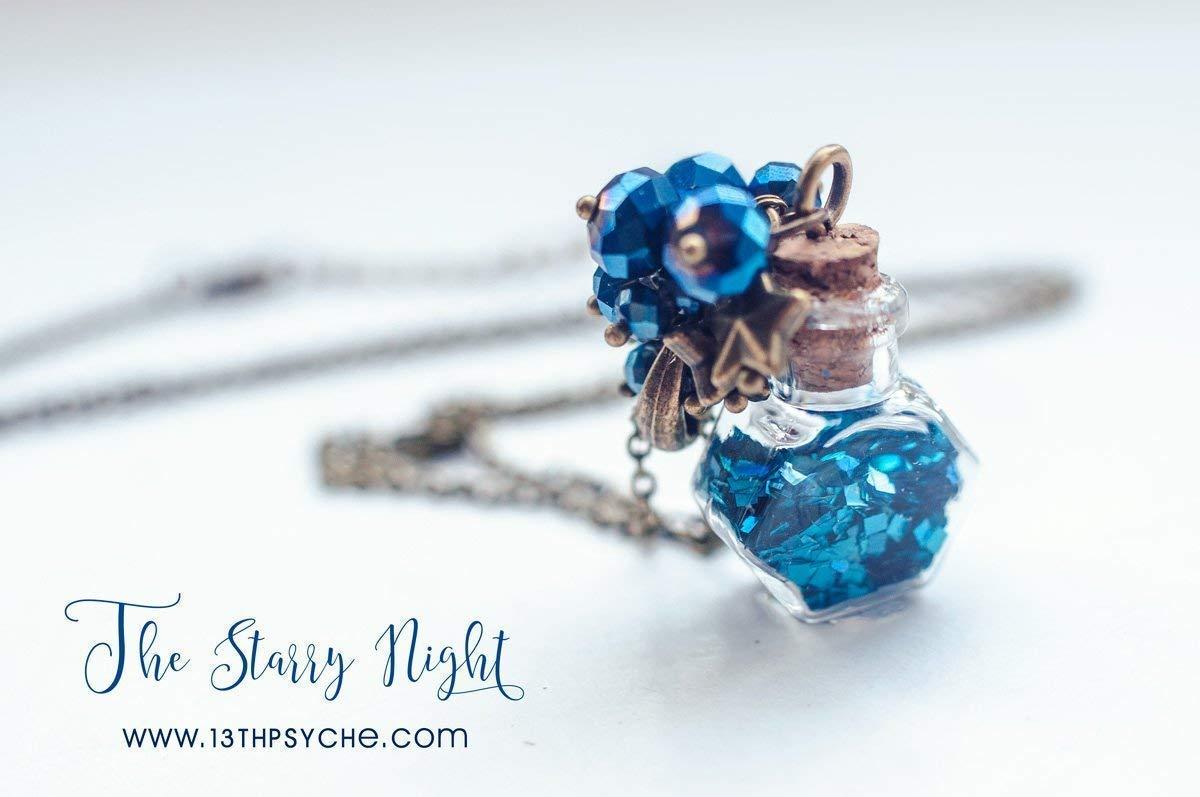 Noche estrellada vidrio botella nekclace, brillo botella encanto collar, colgante de la botella, colgante de cristal del frasco, collar de cristal azul, ...