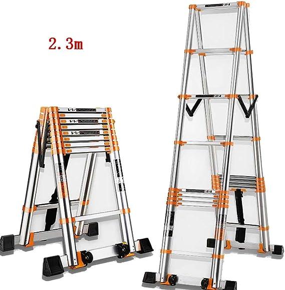 CAIJUN Escalera Telescópica Multifunción Plegable Estable Barra De Equilibrio Espesar Aleación De Aluminio La Seguridad Antideslizante, 2 Tamaños (Color : Orange, Tamaño : A-2.3m): Amazon.es: Hogar