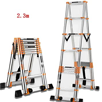 CAIJUN Escalera Telescópica Multifunción Plegable Estable Barra De Equilibrio Espesar Aleación De Aluminio La Seguridad Antideslizante, 2 Tamaños (Color ...