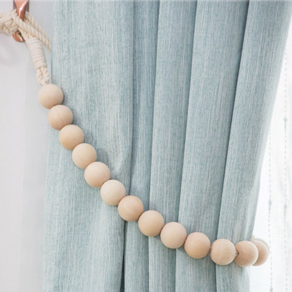 Chictie 2 Pieces Natural Cotton Curtain Tie Backs with Wood Beads Ties Rope Cord 30.7'' Long Country Style Drapery Holdbacks Indoor Outdoor Home Window Decor