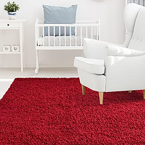 iCustomRug Affordable Shaggy Rug Dixie Cozy & Soft Kids Shag Area Rug Solid Color Red, For Children's Play Area, Bedroom or Nursery Carpet 8 Feet x 10 Feet (8' x - Red Shag Carpet
