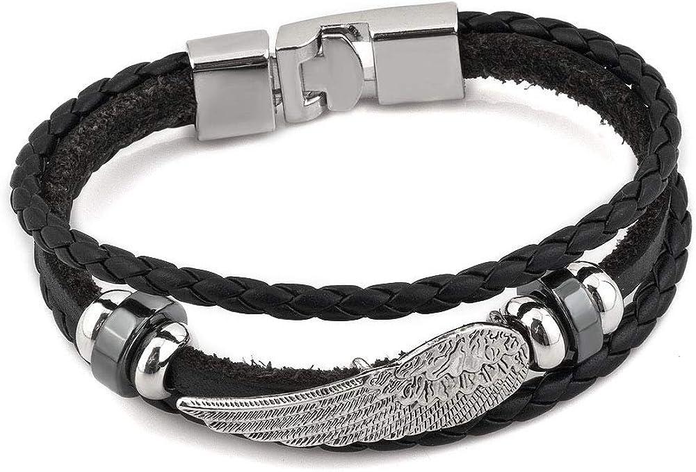 LoEnMe Jewelry Hamsa Hand Fleur De Lis Skull Cross Angel Wing Animal Leather Bracelet Bangle Men Boy Best Gift