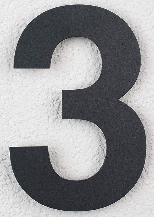 SEM Hausnummer 1 Edelstahl Pulverbeschichtet Anthrazit RAL 7016 16cm 160mm modern