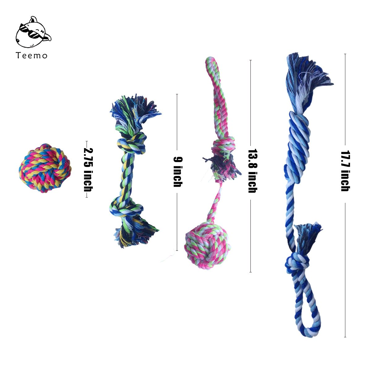 Gift For Puppy Chew Teething Rope Toys Dental Health Value Pack Durable Eco Friendly Cotton Fibers For Small to Medium Dogs