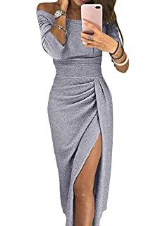 ONine Women Off Shoulder Ruched Metallic Knit High Slit Bodycon Dress  Evening Party Cocktail Dress 689b60188