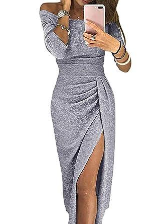 45ff76d709c1 Amazon.com  Women Off Shoulder Midi Slit Bodycon Dress Long Sleeve Sexy  Dresses Party Wedding Cocktail